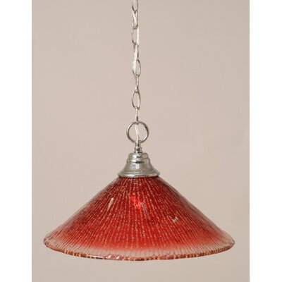 1-Light Bowl Pendant in Raspberry Crystal Glass Finish: Chrome