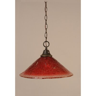1-Light Bowl Pendant in Raspberry Crystal Glass Finish: Dark Granite