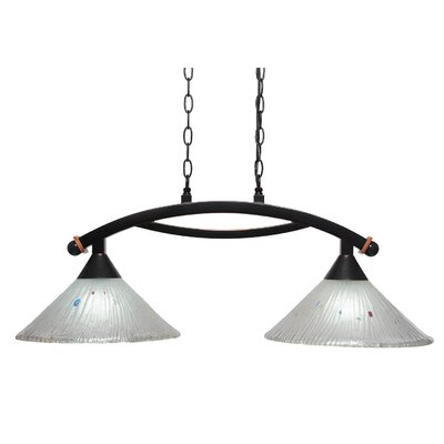Blankenship 2-Light Glass Shade Kitchen Island Pendant Shade Color: Frosted