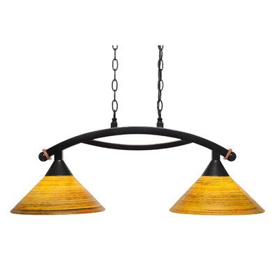 Blankenship 2-Light Black Copper Kitchen Island Pendant