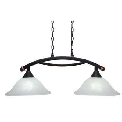 Bow 2-Light Kitchen Island Pendant Shade Color: White