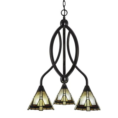 Essonnes 3-Light Glass/Crystal Shaded Chandelier Finish: Black Copper