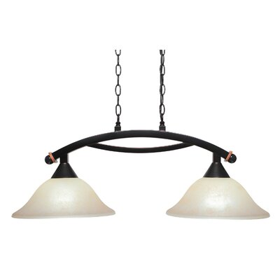 Bow 2-Light Kitchen Island Pendant Shade Color: Amber