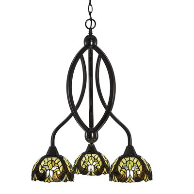 Austinburg 3-Light 100W Adjustable Height Shaded Chandelier Finish: Black Copper, Shade Color: Ivory