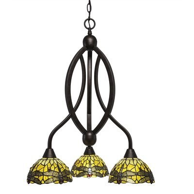 Quinn 3-Light Shaded Chandelier Finish: Bronze