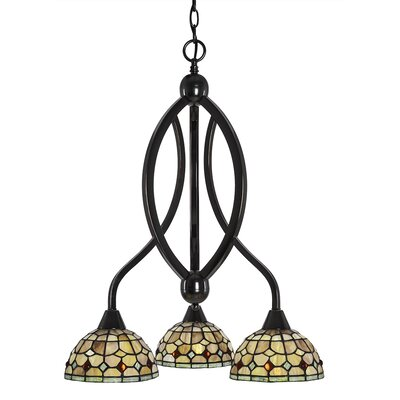 Austinburg 3-Light Dimmable Glass/Crystal Shaded Chandelier Color: Black Copper