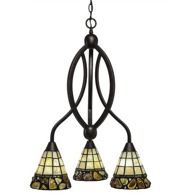 Essonnes 3-Light Shaded Chandelier Finish: Bronze