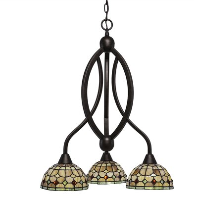 Austinburg 3-Light Dimmable Glass/Crystal Shaded Chandelier Color: Bronze