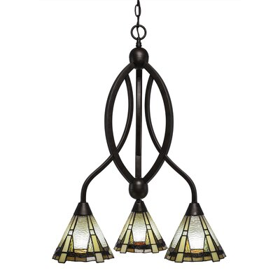 Essonnes 3-Light Glass/Crystal Shaded Chandelier Finish: Bronze