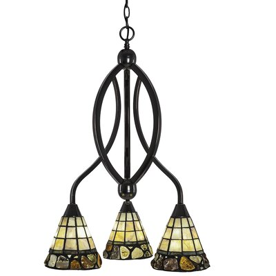 Essonnes 3-Light Shaded Chandelier Finish: Black Copper