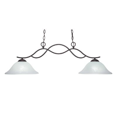 Revo 2-Light Kitchen Island Pendant Shade Color: White, Finish: Dark Granite