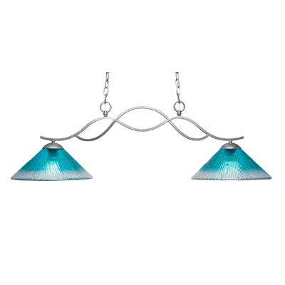 Revo 2-Light Kitchen Island Pendant Finish: Aged Silver, Shade Color: Teal