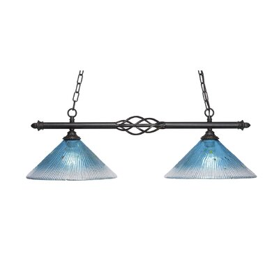 Elegant� 2-Light Kitchen Island Pendant Shade Color: Teal