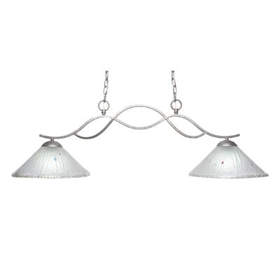 Revo 2-Light Kitchen Island Pendant Finish: Aged Silver, Shade Color: Frosted