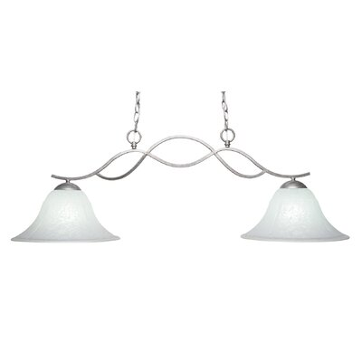 Revo 2-Light Kitchen Island Pendant Finish: Aged Silver, Shade Color: White