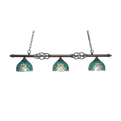 Elegant� 3-Light Kitchen Island Pendant Shade Color: Persian Nites