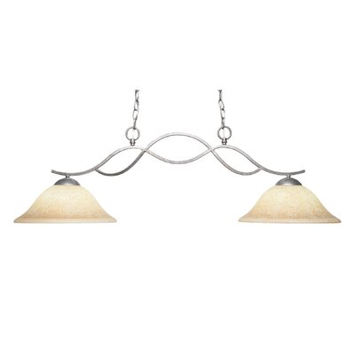 Revo 2-Light Kitchen Island Pendant Finish: Aged Silver, Shade Color: Cream