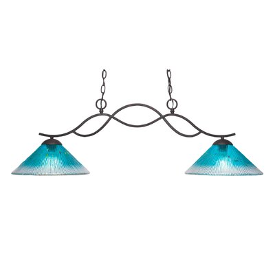 Revo 2-Light Kitchen Island Pendant Shade Color: Teal, Finish: Dark Granite