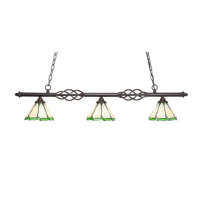 Elegant� 3-Light Kitchen Island Pendant Shade Color: Honey/Hunter Green