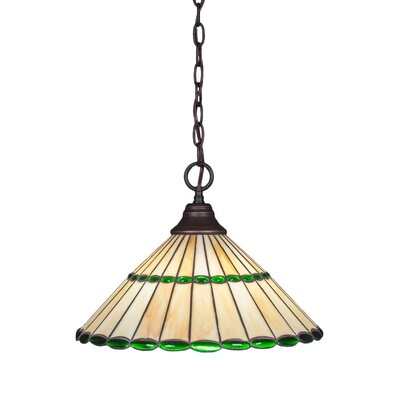 1-Light Mini Pendant Shade Color: Honey and Green, Finish: Dark Granite