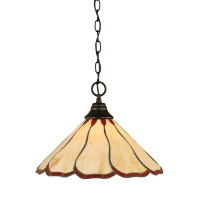 1-Light Mini Pendant Finish: Matte Black, Shade Color: Honey and Burgundy