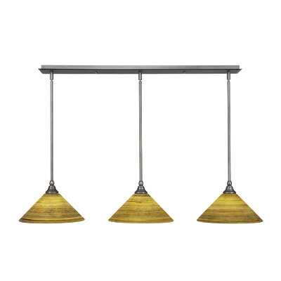 3-Light Kitchen Island Pendant Finish: Brushed Nickel, Shade Color: Firre Saturn