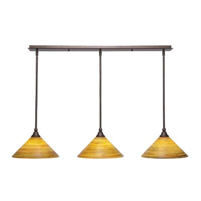3-Light Kitchen Island Pendant Finish: Bronze, Shade Color: Firre Saturn