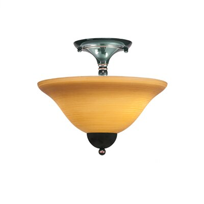 2-Light Semi Flush Mount Finish: Black Copper, Shade Color: White