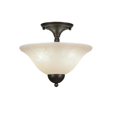 2-Light Semi Flush Mount Finish: Bronze, Shade Color: Amber