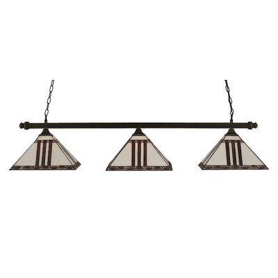 3-Light Square Billiard Light Finish: Dark Granite