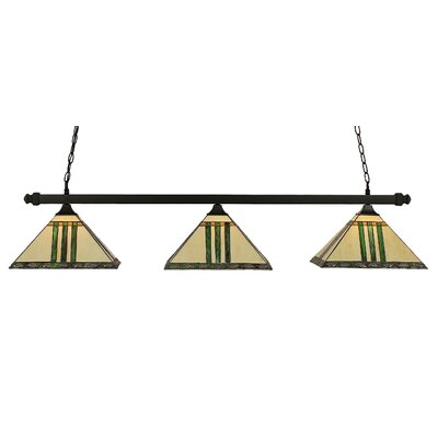 3-Light Square Pool Table Light Finish: Matte Black