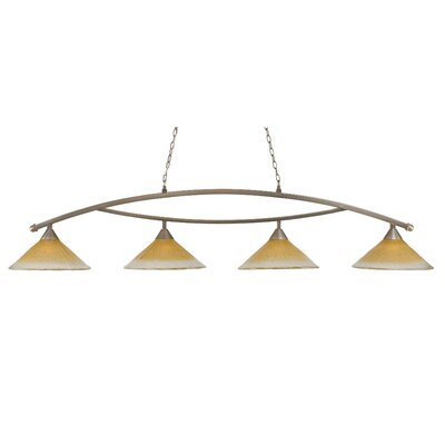 Bow 4-Light Downlight Kitchen Island Pendant Finish: Brushed Nickel