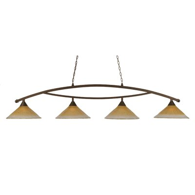 Bow 4-Light Downlight Kitchen Island Pendant Finish: Bronze