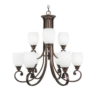Babin 9-Light Shaded Chandelier Shade Color: White