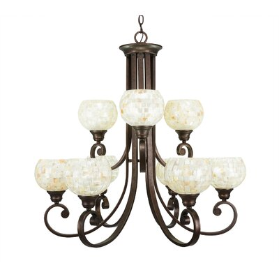 Babin 9-Light Shaded Chandelier Shade Color: Mystic