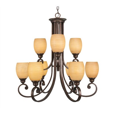 Babin 9-Light Shaded Chandelier Shade Color: Cayenne