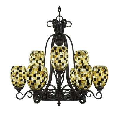 Elegante 9-Light Shaded Chandelier Shade Color: Sea Haze