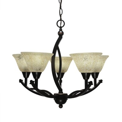 Bow 5-Light Shaded Chandelier Shade Color: Italian