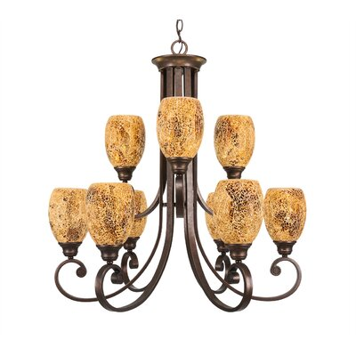 Woodridge Fusion 9-Light Shaded Chandelier Shade Color: Gold