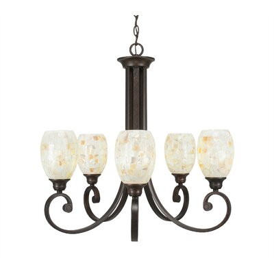 Babin 5-Light Shaded Chandelier Shade Color: Ivory Glaze