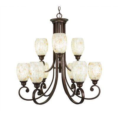 Babin 9-Light Shaded Chandelier Shade Color: Ivory Glaze