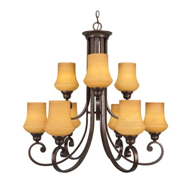 Babin 9-Light Shaded Chandelier Shade Color: Zilo Cayenne