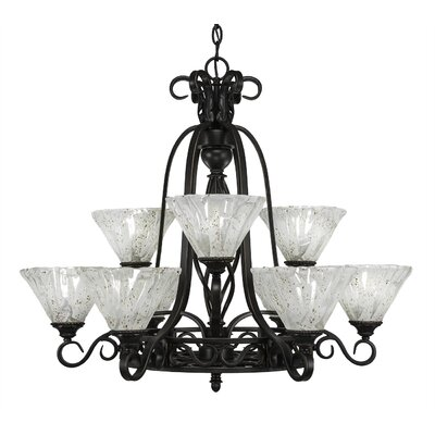 Elegante 9-Light Shaded Chandelier Shade Color: Italian
