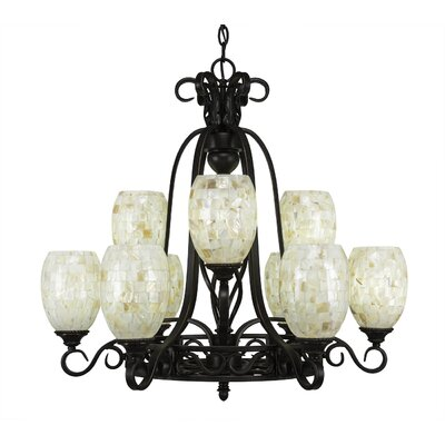 Elegante 9-Light Shaded Chandelier Shade Color: Ivory Glaze