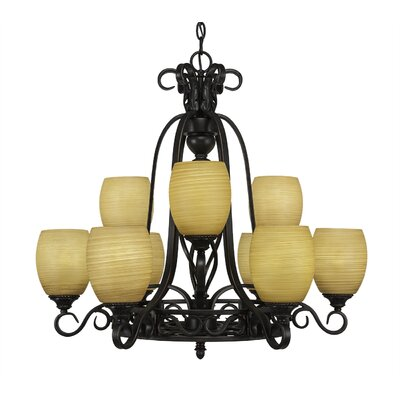 Elegante 9-Light Shaded Chandelier Shade Color: Cayenne