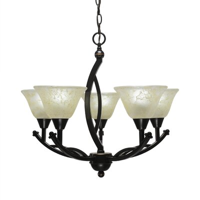 Blankenship 5-Light Shaded Chandelier Shade Color: Amber