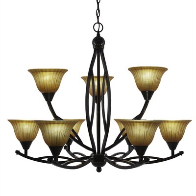 Bow 9-Light Shaded Chandelier