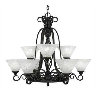 Elegante 9-Light Shaded Chandelier Shade Color: Gold