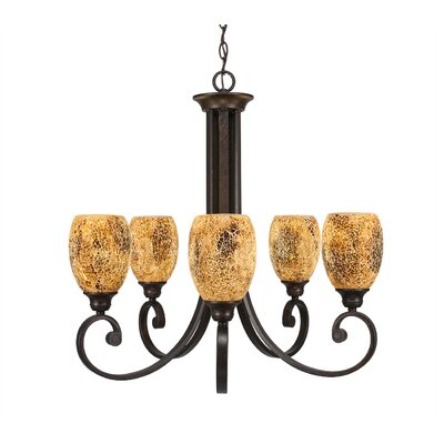 Babin 5-Light Shaded Chandelier Shade Color: Gold