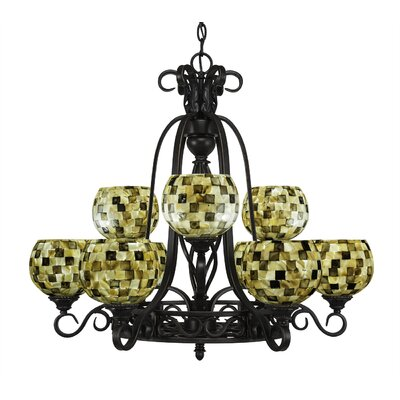 Elegante 9-Light Shaded Chandelier Shade Color: Sea Mist